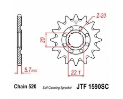Зірка передня JTF1590.13SC