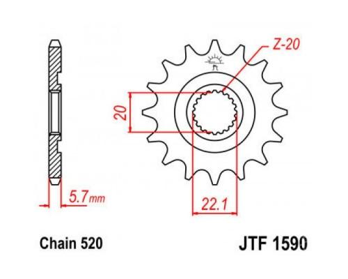 Зірка передня JTF1590.12