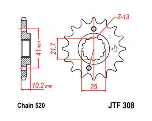 Зірка передня JTF308.15