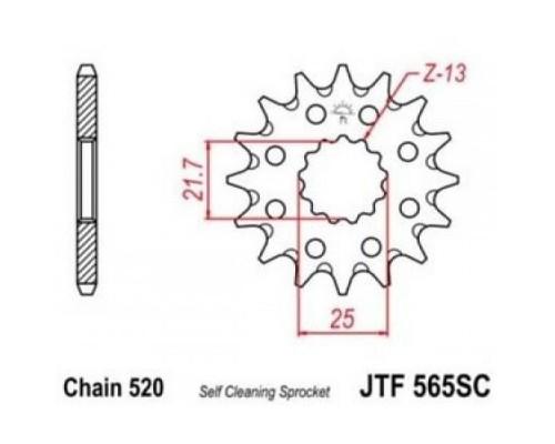 Зірка передня JTF565.13SC
