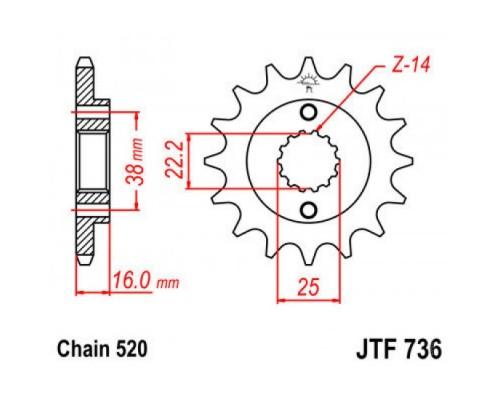 Зірка передня JTF736.15